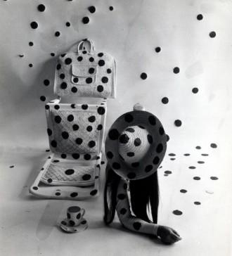 Yayoi Kusama Performing Self Obliteration by Dots