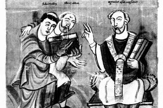 Miniatura del IX secolo che ritrae Alcuino di York (in secondo piano) mentre presenta il suo allievo Mauro Rabano a San Martino