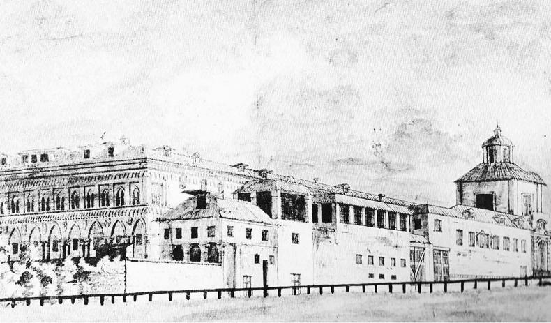 Veduta dal Naviglio verso via Francesco Sforza | Disegno a penna e seppia 1810 ca.