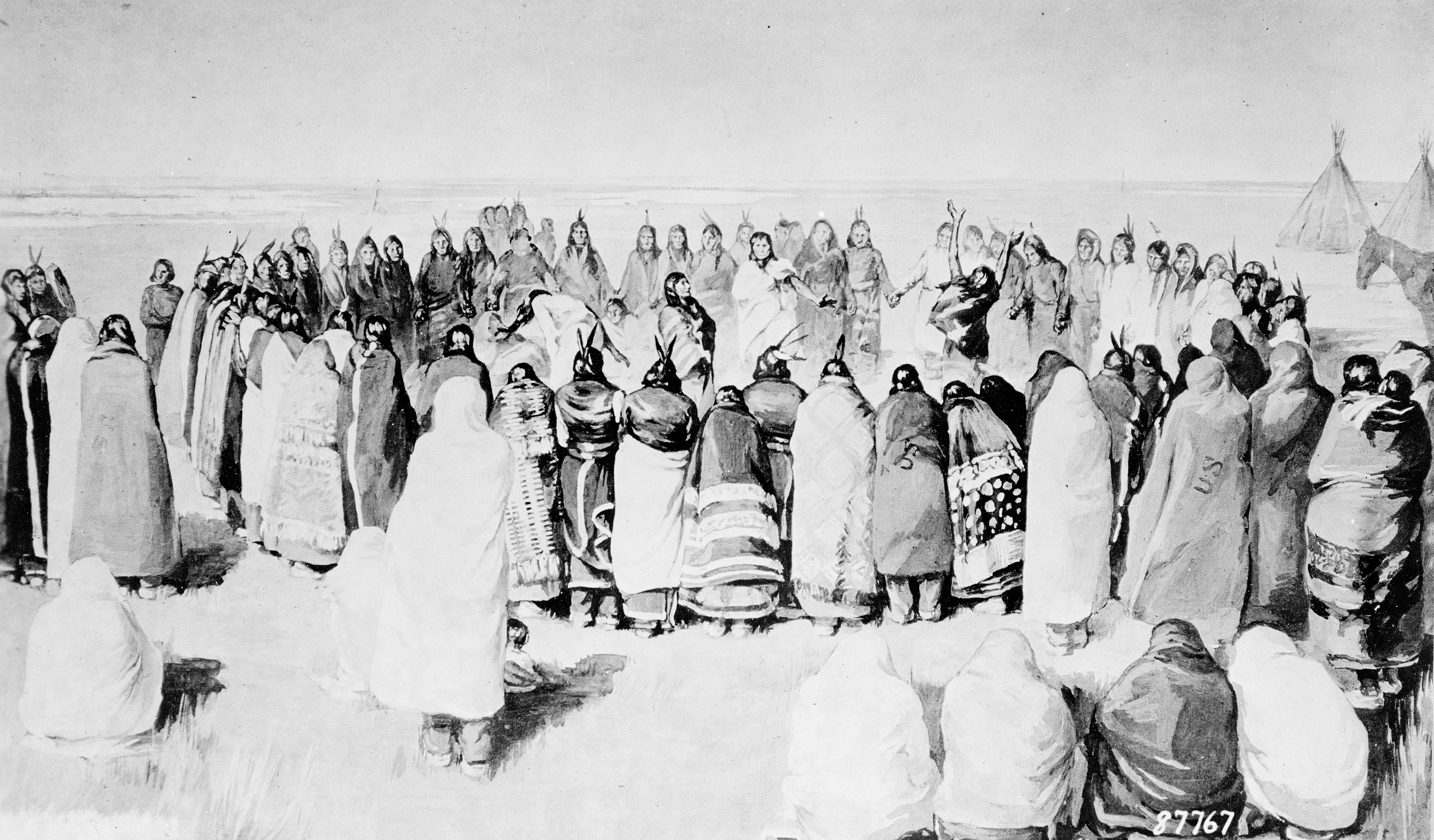 La danza degli spiriti dei Sioux in un'incisione del 1890