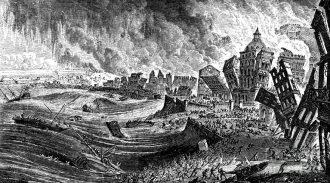 """""""Il terremoto di Lisbona"""", incisione del 1755 ca."""