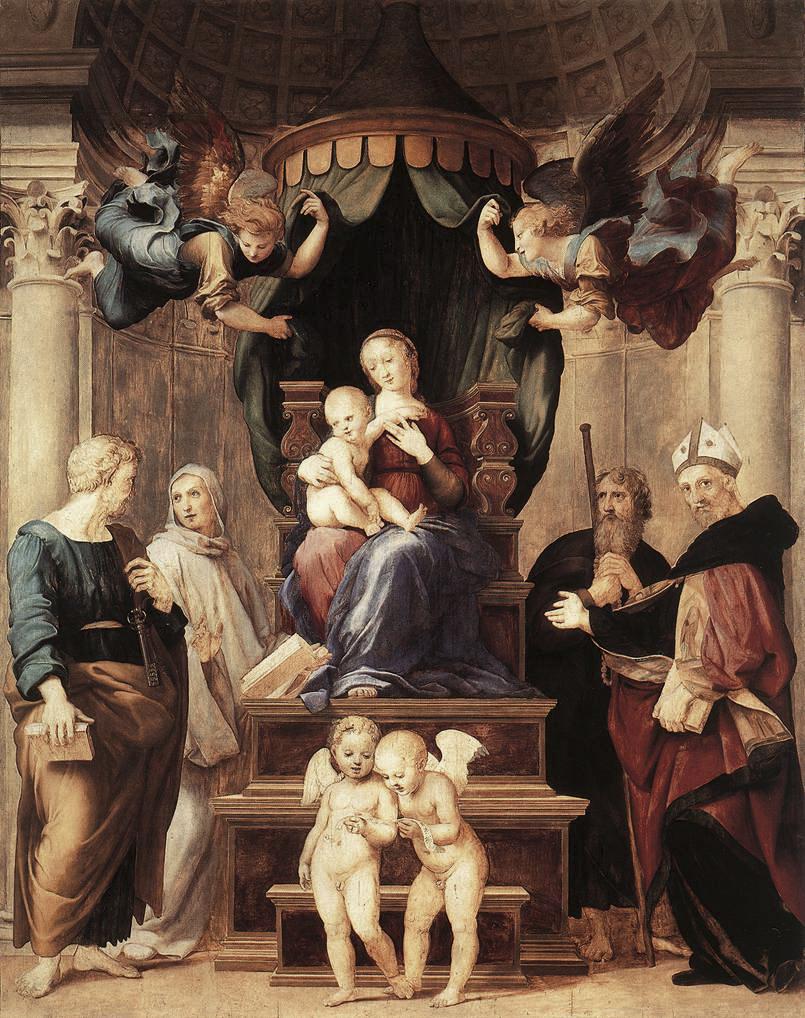 """""""Madonna del Baldacchino"""", olio su tela di Raffaello Sanzio, 1506-1508, presso la Galleria Palatina di Firenze."""