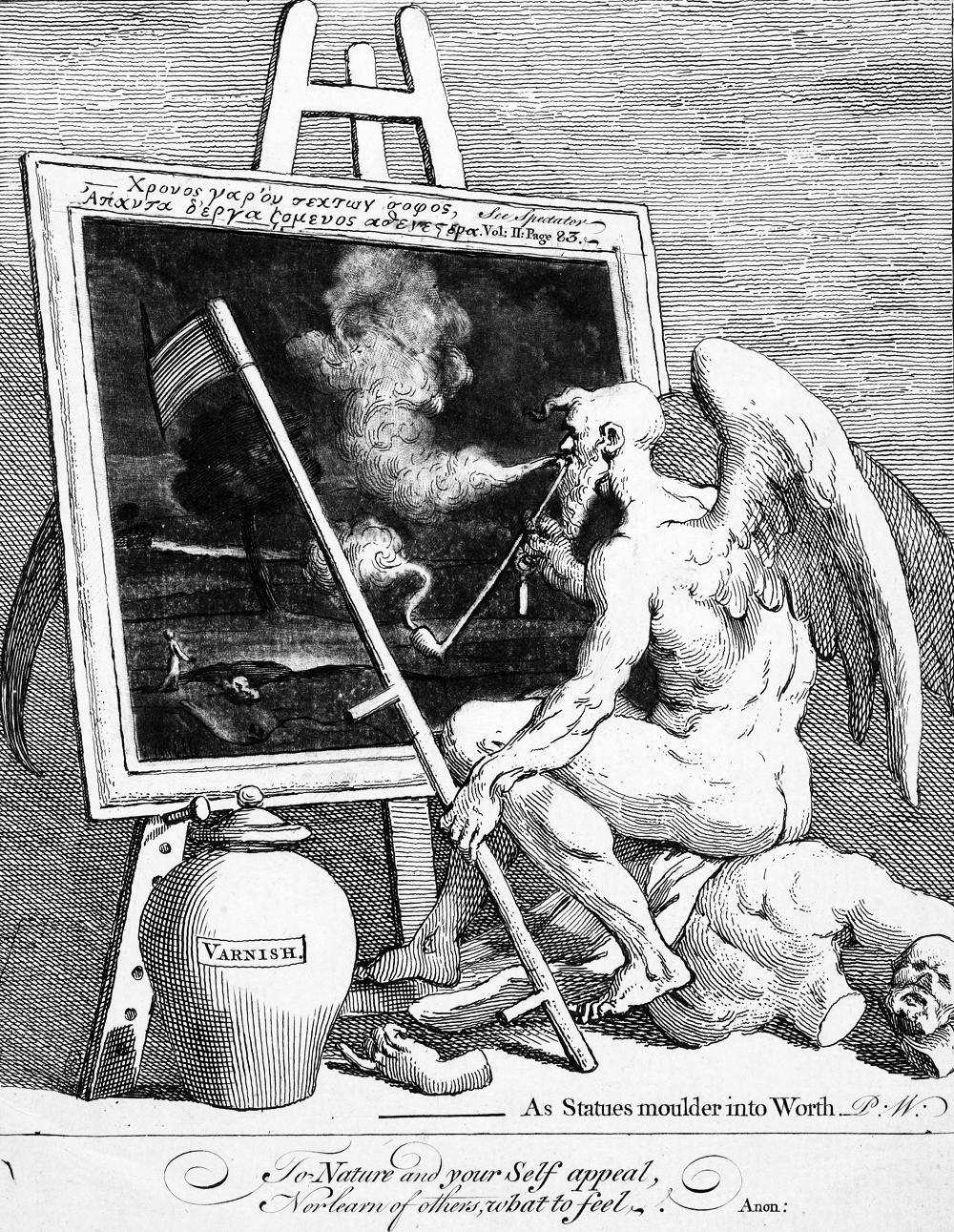 """Time smoking a picture"", acquaforte di William Hogarth, 1761."
