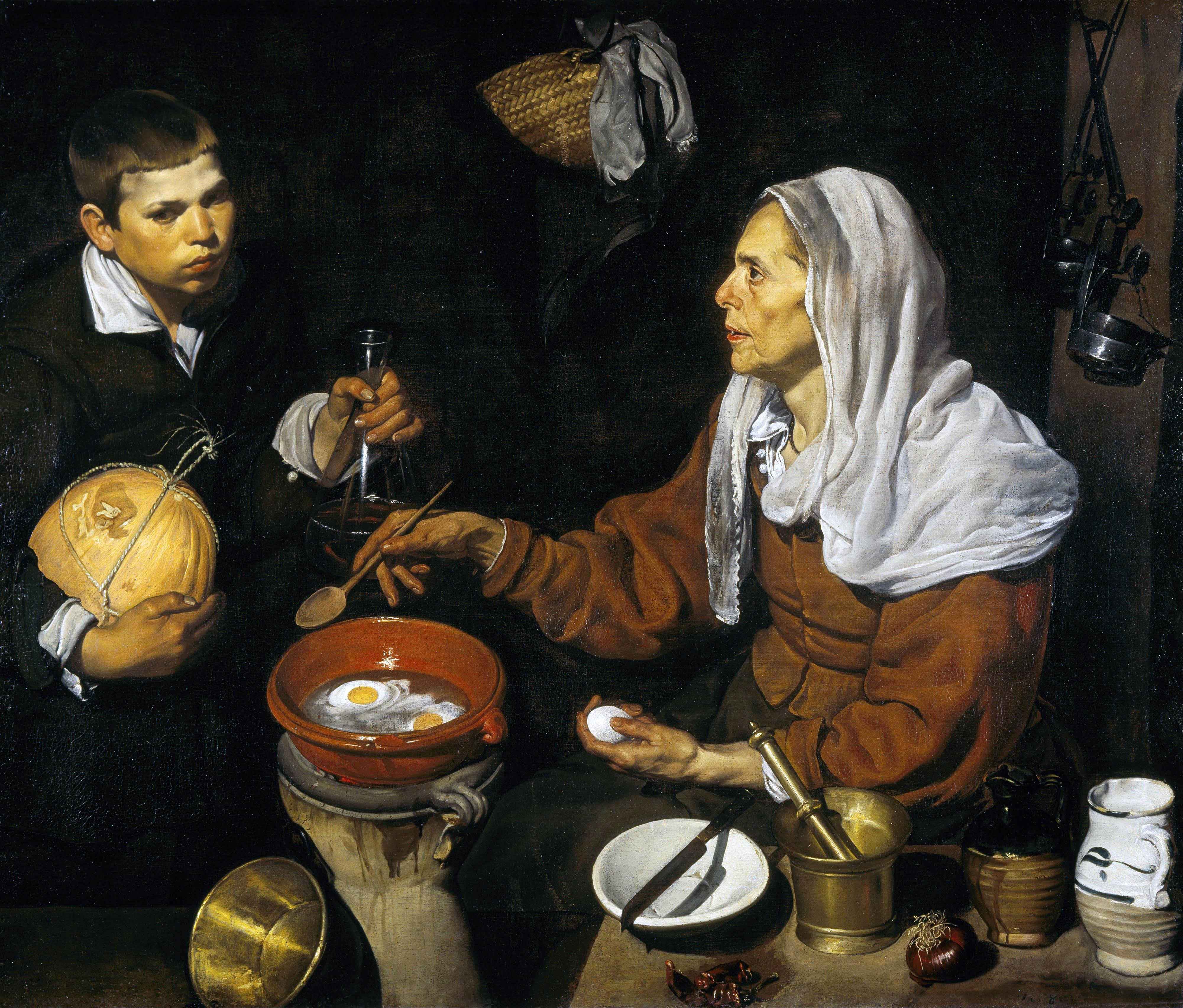 """Diego Velazquez, """"Vecchia che frigge le uova"""" (1618)."""