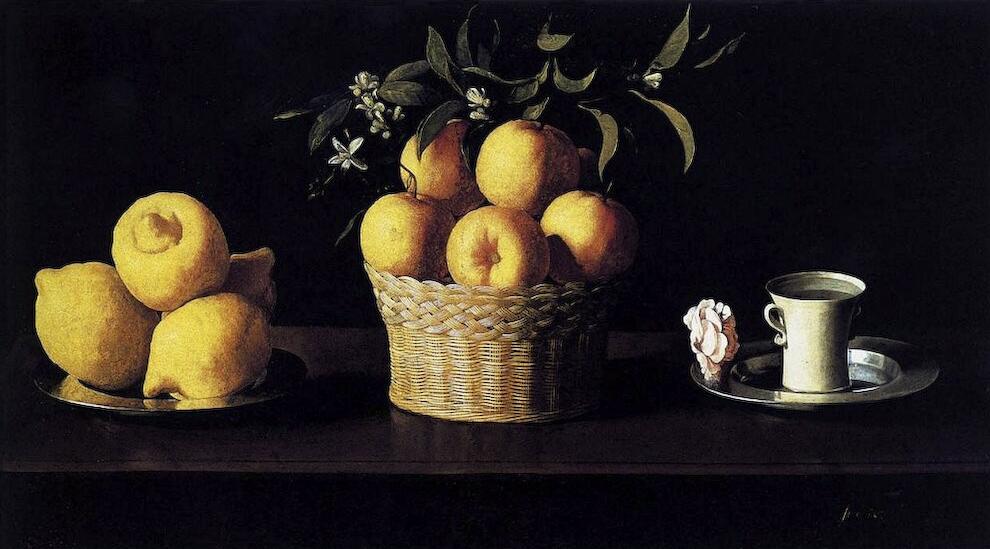 Francisco de Zurbarán Natura morta con limoni arance e una rosa (1633)
