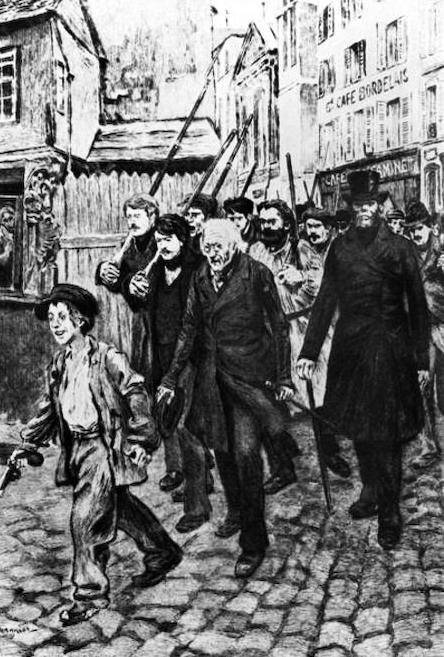 """Gavroche alla guida della protesta. Illustrazione da """"Les miserables"""" di Victor Hugo, olio su tela di Pierre Georges (1848-1934)."""