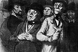 """Amatori classici sempre più convinti che l'arte è perduta in Francia"". Illustrazioni di Honoré Daumier, 1840-1857"