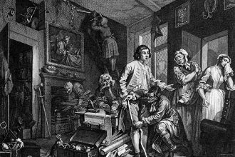 William Hogarth, A, Rake's Progress, Plate 1 - The Young Heir Takes Possession of the Miser's Effects
