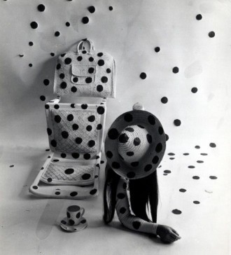 Yayoi Kusama Performing Self Obliteration by Dots