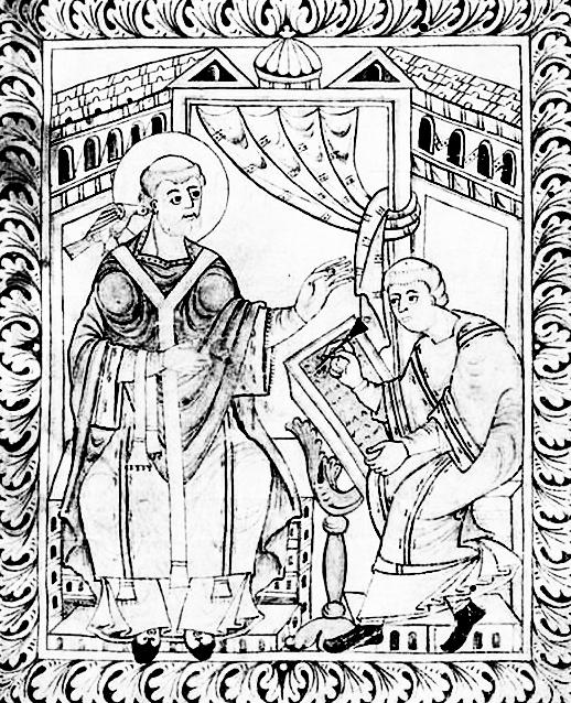 Illustrazione di un manoscritto di Paolo Diacono sull'origine divina e rivelata del canto gregoriano (IX-XIII secolo)