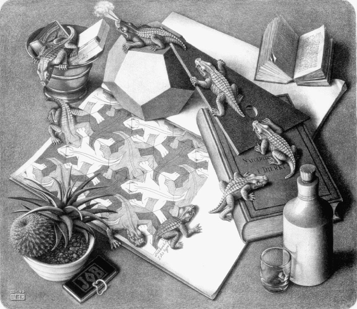 Rettili. Litografia di Escher 1943