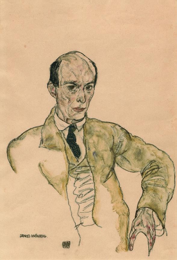 Egon Schiele, Ritratto di Arnold Schönberg, acquarello guazzo e matita, 1917.