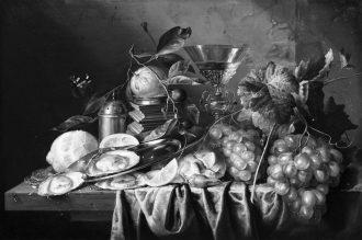 Jan Davidsz de Heem Natura morta con ostriche e uva ( 1653 ) bn [anna lav]