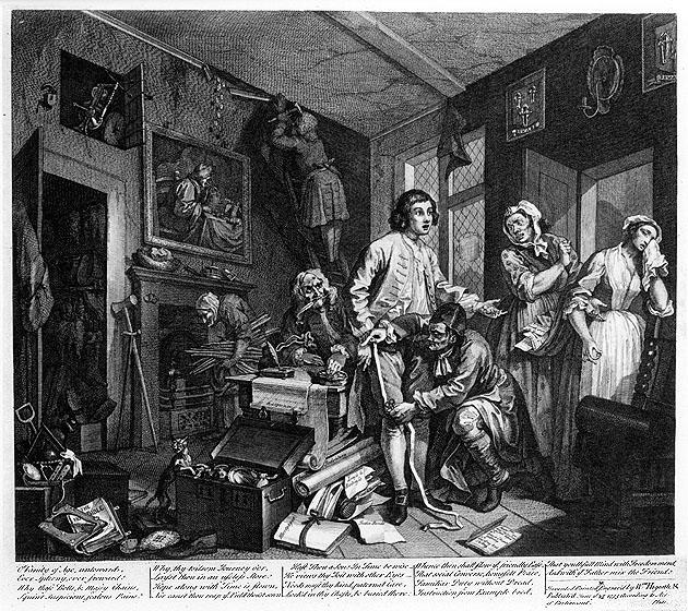William Hogarth, A, Rake's Progress, Plate 1: The Young Heir Takes Possession of the Miser's Effects (Il giovane erede prende possesso degli effetti dell'avaro)