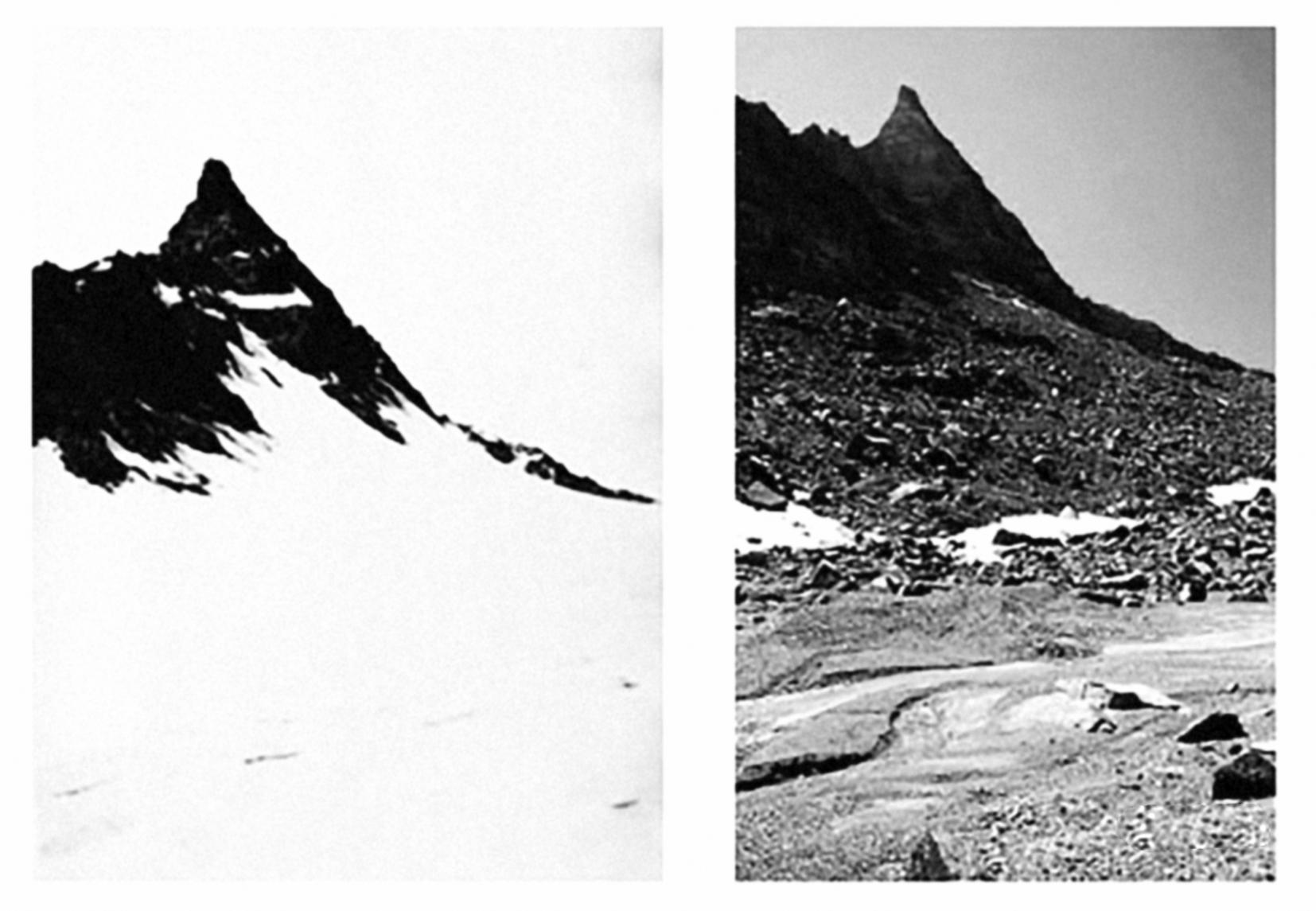 Il gthiacciaio Ciardoney in Val Soana nel Parco del Gran Paradiso fotografato nel 1920 (a sinistra) e nel 2004 (a destra) | Archivio Sella, Biella