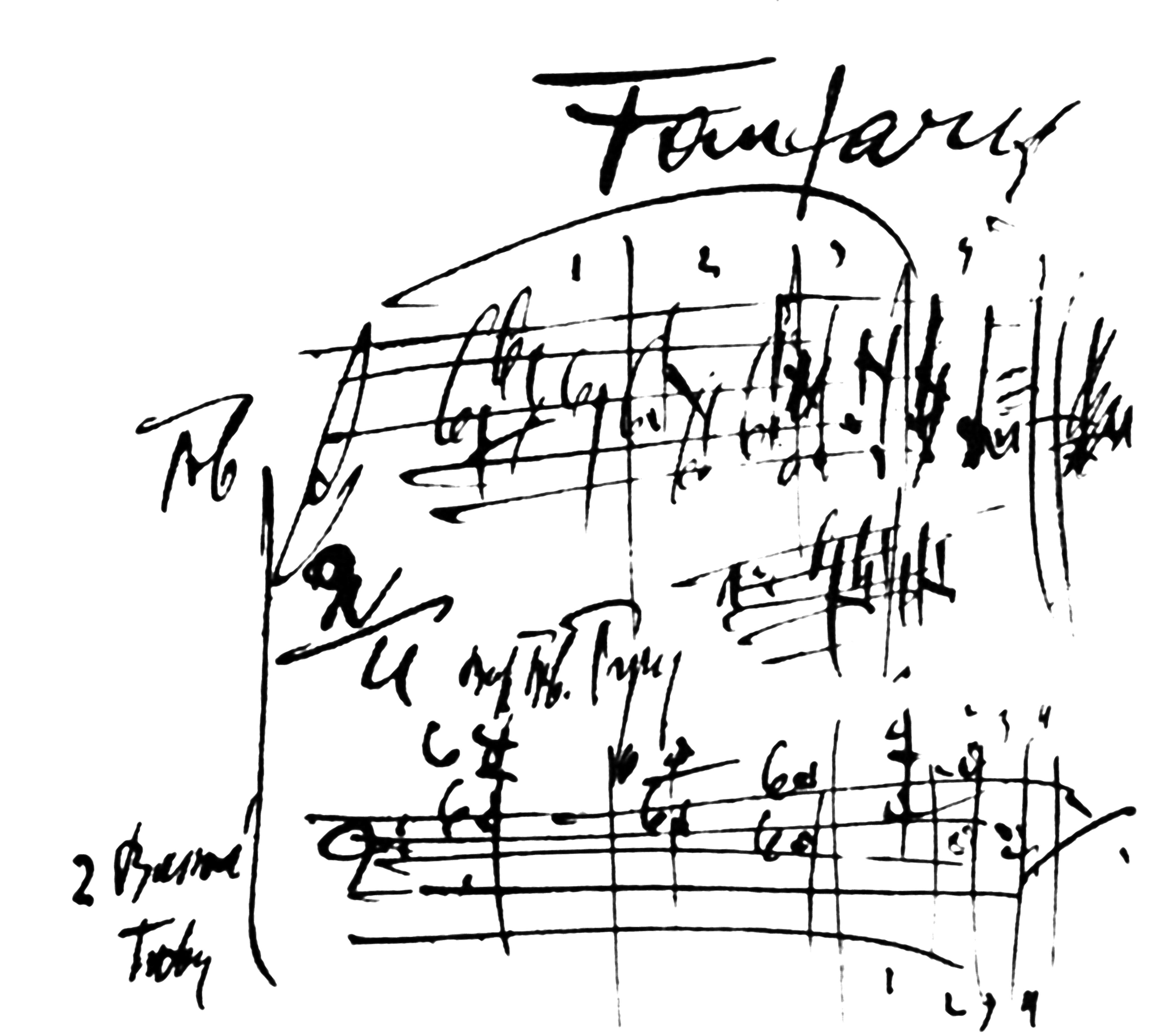 Partitura autografa della Fanfara dalla Sinfonietta di Janáček