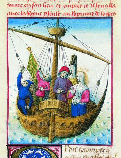 L'embarquement de Tristan et Iseut. Miniatura su pergamena (1480) di Évrard d'Espinques