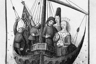 L'embarquement de Tristan et Iseut. Miniature sur vélin (1480) d'Évrard d'Espinques