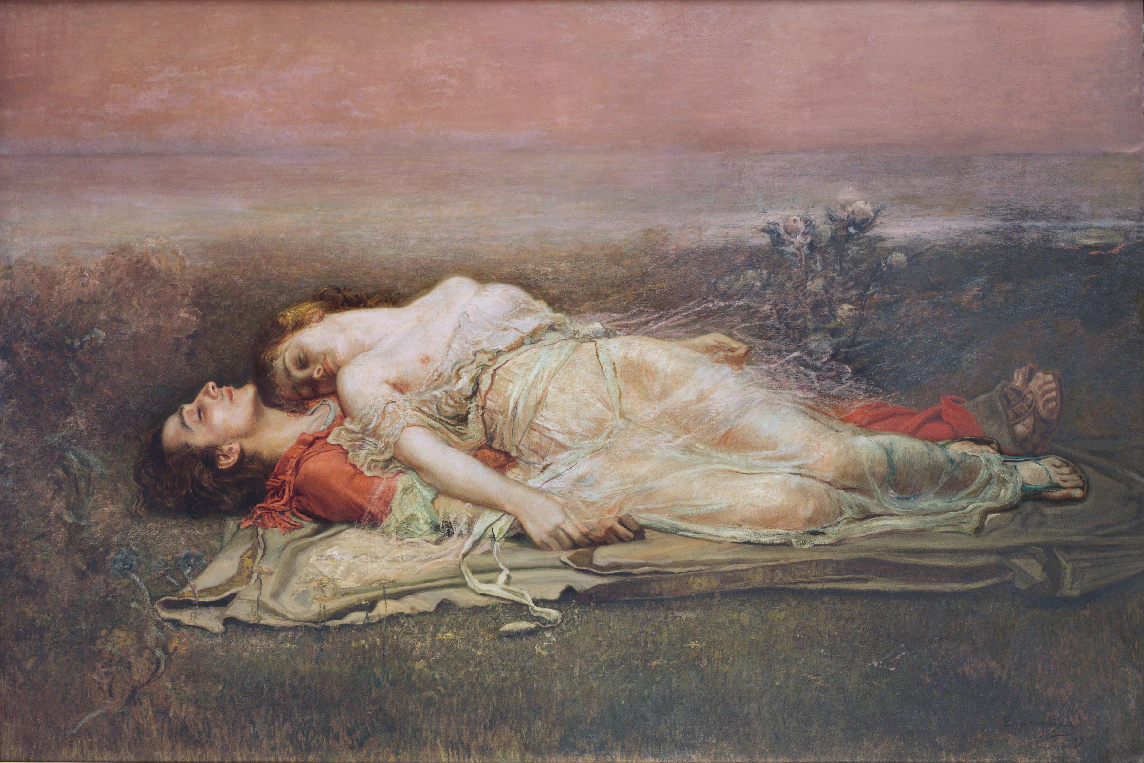 Morte di Tristano e Isotta. Olio su tela di Rogelio de Egusquiza, 1910.