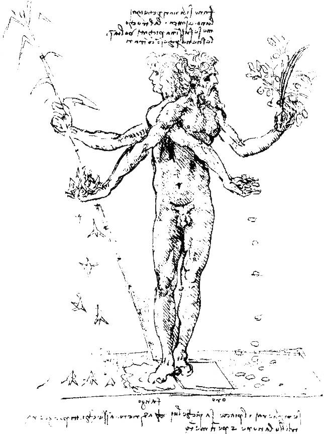 Corpo androgino con due teste. Disegno di Leonardo da Vinci