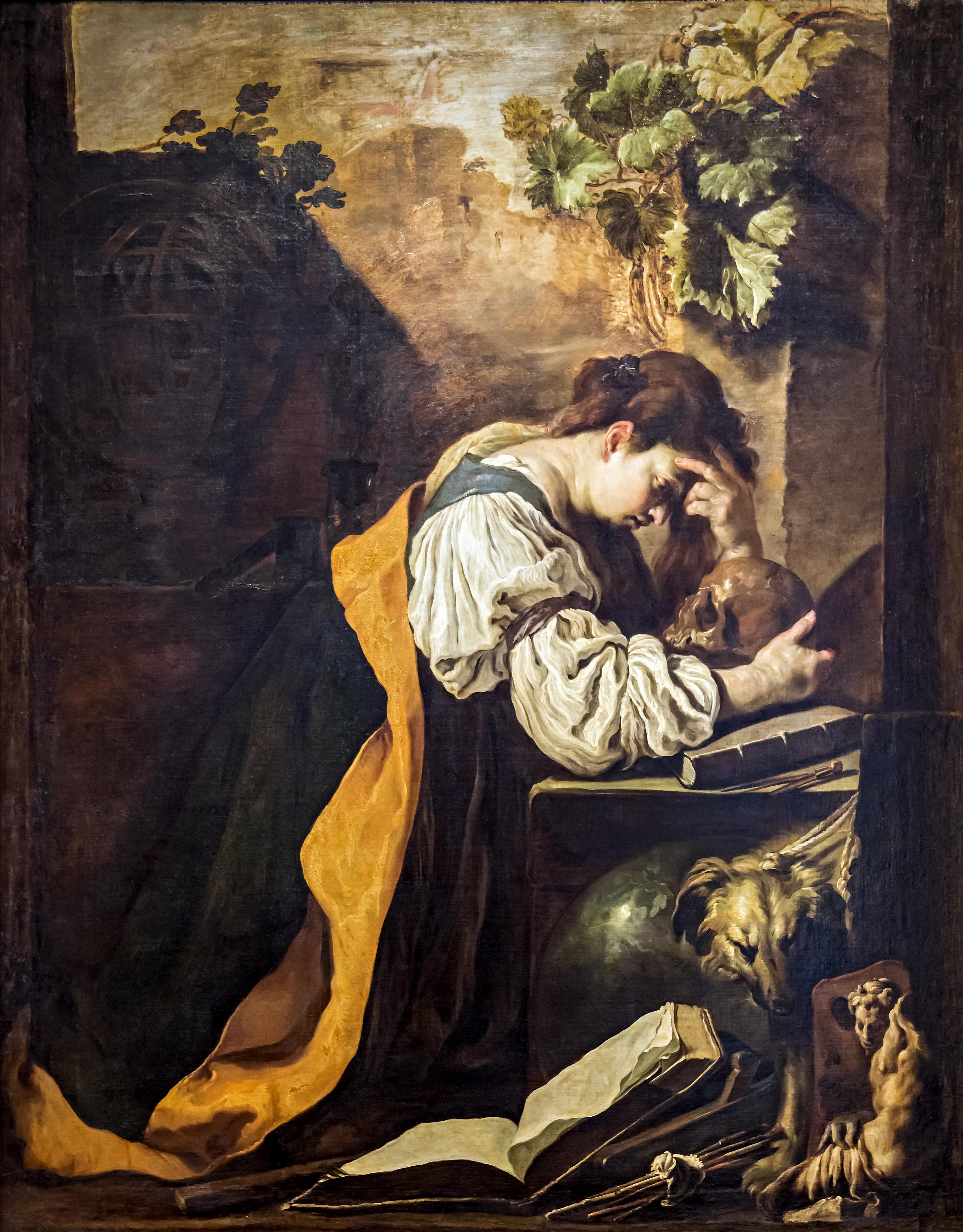 Domenico Fetti, 'La Meditazione, o Malinconia'. Olio su tela, 1618. Venezia, Gallerie dell'Accademia.