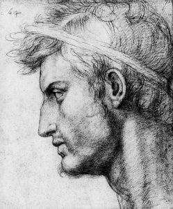 tudio per la testa Giulio Cesare | Andrea Del Sarto, sanguigna su carta, 1520
