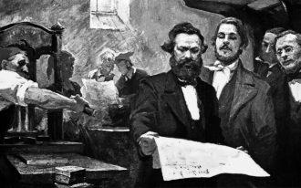 Marx e Engels stampano la Neue Rheinische Zeitung durante la rivoluzione del 1848-1849 | Dipinto di E. Capiro