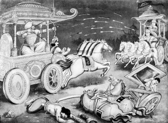 Combattimento tra Bhisma e Arjuna. Illustrazione di Ramanarayanadatta Astri. University of Toronto Collection
