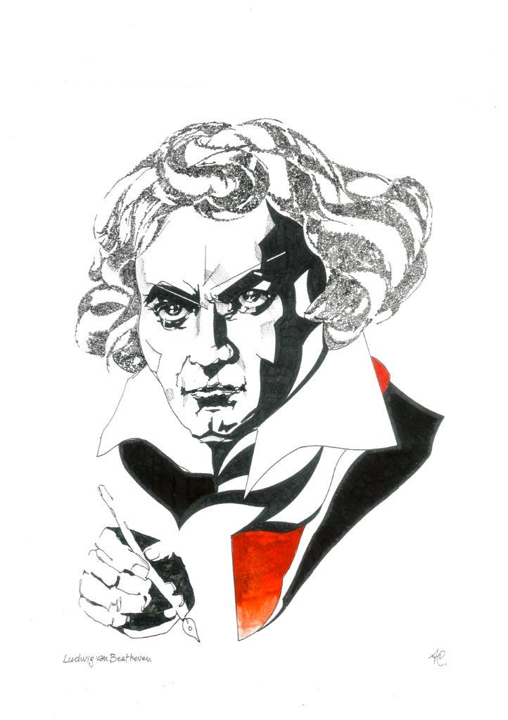 Ludwig van Beethoven in uno dei ritratti da Ago Scarabelli in mostra presso il teatro Corte dei Miracoli, ottobre 2018