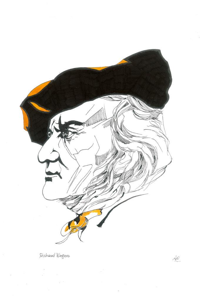 Richard Wagner in uno dei ritratti da Ago Scarabelli in mostra presso il teatro Corte dei Miracoli, ottobre 2018