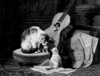 Gli accordatori, acquerello su carta, Henriette Ronner, 1876-77