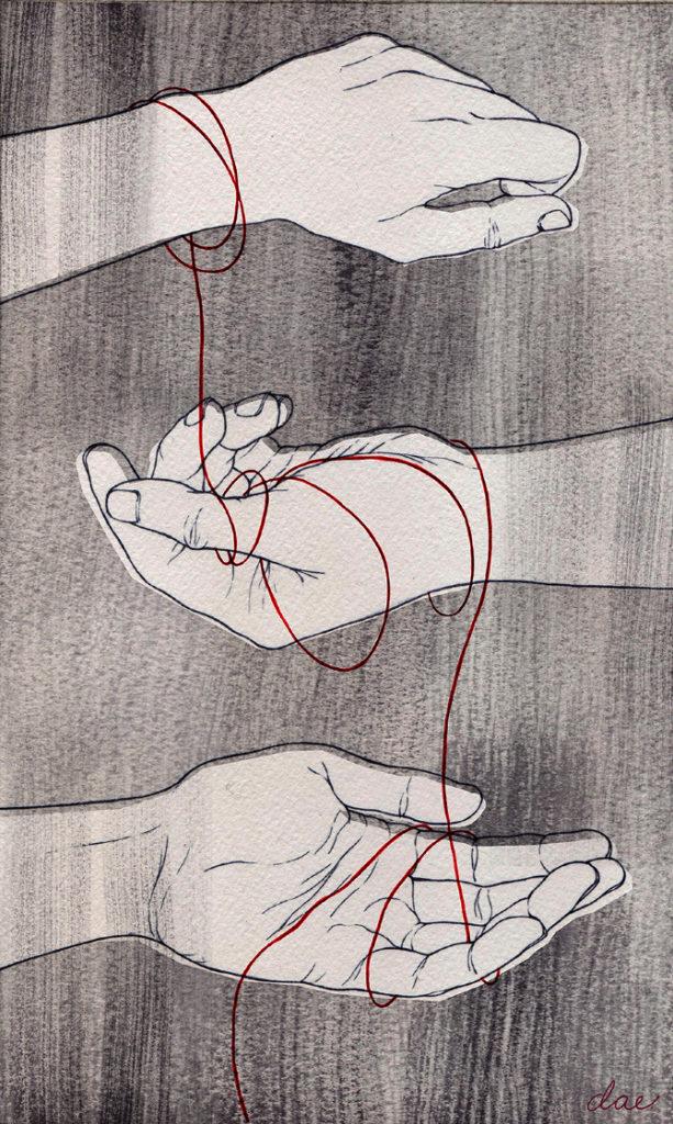 egemonia Kabbalah Hands. Acquerello di Delia Evin